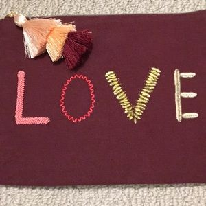 Stella and dot embroidered love pouch